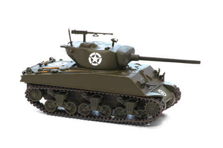 ww2 US Army scale model tank isolated over white background Foto de archivo