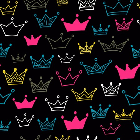 Crowns seamless pattern on black background.