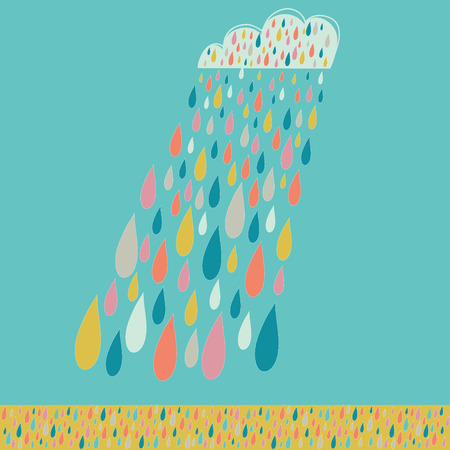 raincloud: Cloud and colored rain. Weather backdrop. Cloud and colored drops on a blue backdrop.