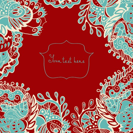 petiole: Abstract invitation card. Template frame design for card. Lace doily.