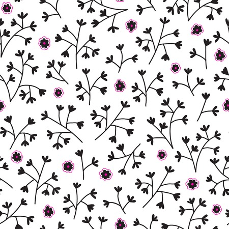 Seamless floral pattern with small flowers. Endless white background. Use for wallpaper, print, pattern fills, web page background Vector