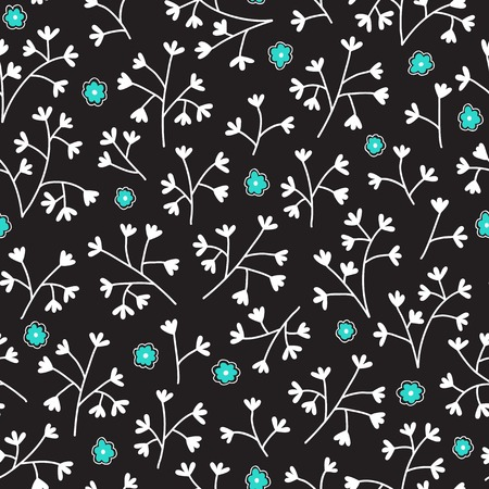 Seamless floral pattern with small flowers. Endless black background. Use for wallpaper, pattern fills, web page background.