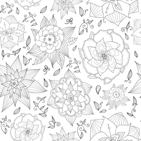 Hand drawn floral seamless pattern on white background. Could be used as seamless wallpaper, textile, wrapping paper or background.