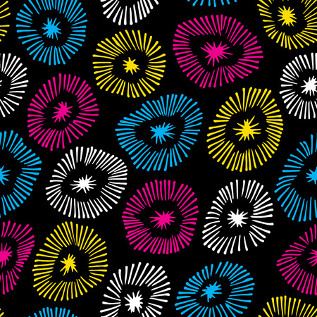 Vector seamless pattern with flowers on black background.  Background with circle ornamental texture. Use for wallpaper, pattern fills, web page background. Vector