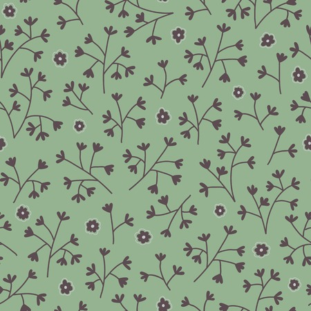 Seamless floral pattern with small flowers. Endless green background. Use for wallpaper, print, pattern fills, web page background