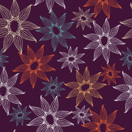 Vector seamless texture with lacy flowers. Endless background. Use for wallpaper, pattern fills, web page background. Vector