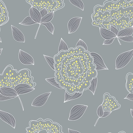 Tender and graceful seamless pattern with hand drawn flowers and leaves . Endless  gray background. Use for wallpaper, pattern fills, web page background. Vector