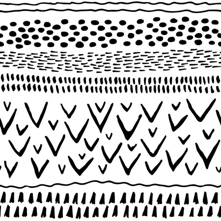 black and white line drawing: Abstract stripes horizontal seamless pattern. Background with hand drawn shapes. White and black colors. Use for wallpaper, pattern fills, web page background.