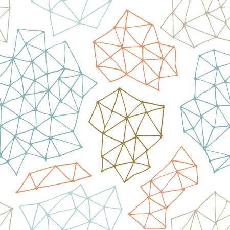 Vector seamless  pattern with outline geometrical shapes. Hand drawn texture comprises with triangles and dots. Beautiful geometric design for print,  wallpaper, web page background. 免版税图像 - 34693572