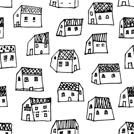 City seamless pattern in black and white is repetitive texture with hand drawn houses. Seamless pattern can be used for wallpaper, pattern fills, web page background,surface textures Vector