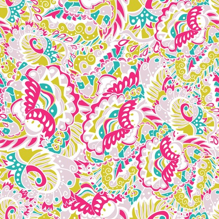 Seamless hand-drawn pattern with abstract leaves and flowers. Use for wallpaper, pattern fills, web page background. Pastel backdrop. Vector