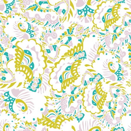 Abstract seamless hand-drawn pattern with leaves and flowers. Seamless pattern can be used for wallpaper, pattern fills, web page background, surface textures. Vector