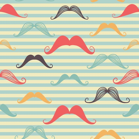 Mustache seamless pattern in vintage style. Pattern or texture with curly retro gentleman mustaches on striped background. For hipster websites, desktop wallpaper, web design.