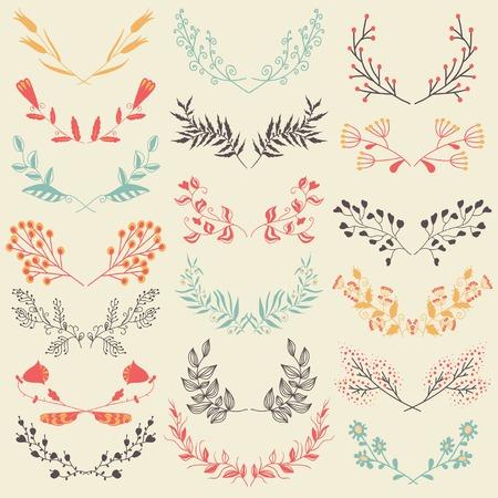 lineas decorativas: Conjunto de dibujado a mano elementos de dise�o gr�fico florales sim�tricos en estilo retro. Elementos de dise�o gr�fico floral. Tel�n de fondo en colores pastel. Ilustraci�n del vector.