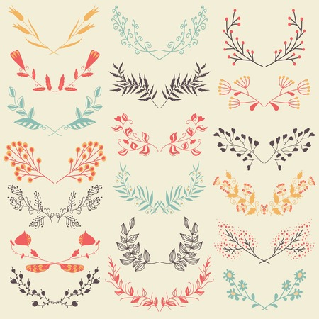 filigree: Set of hand drawn symmetrical floral graphic design elements in retro style. FLoral graphic design elements. Pastel backdrop.  Illustration vector. Illustration