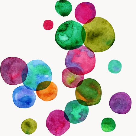 Vector round shapes seamless ornament. Bright watercolor bubbles. Hand painted illustration. Vector format. Ilustração