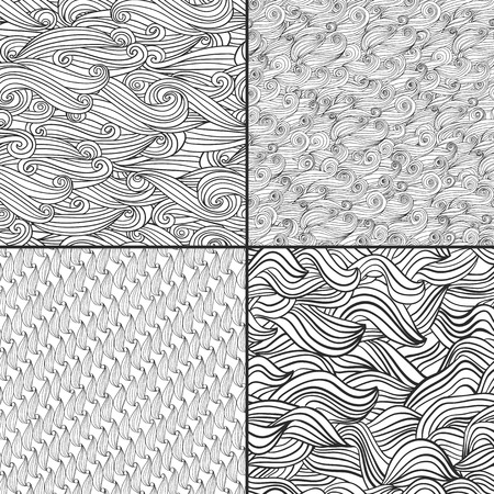 white wave: Set of four black and white wave patterns. Black and  white colors. Used for wallpaper, pattern fills, web page background,surface textures. Illustration