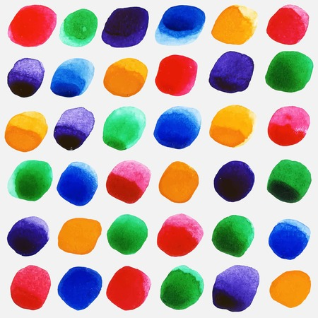 ultramarine: Watercolor circles seamless pattern with red, yellow, green and ultramarine colors. Retro hand drawn circles ornament. Round shapes pattern. Geometric painted ornament. Illustration