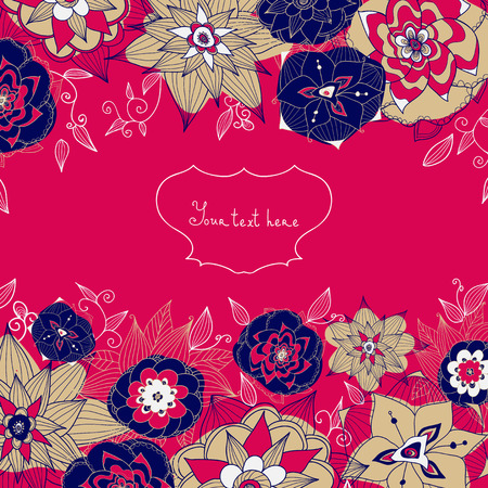 edit valentine: Wedding card or invitation with abstract floral background. Elegance card with abstract flowers on red background. Floral illustration. Valentine. Classic. Easy for edit.