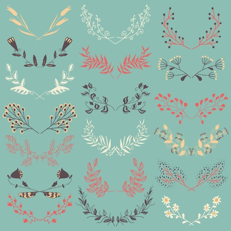 Set of Graphic Floral Design Elements. Set of hand drawn symmetrical floral graphic design elements in retro style. Blue backdrop. Illustration vector. Vector