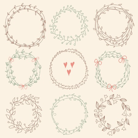 Set of Floral Frames. Vector romantic set of circle floral borders. Sketch frames, hand-drawn in vintage style. Vector illustration. Vector