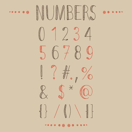 Hand drawn numbers with most common keystrokes, question marks, points, commas, brackets, stars, etc. Easy to use and edit numerals and other signs. Vector