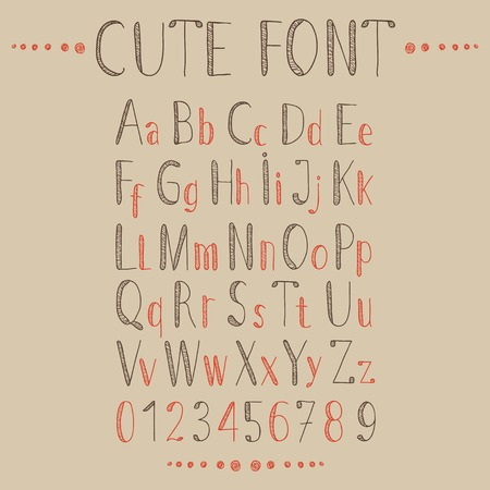 Hand drawn alphabet in retro style. ABC for your design.  Easy to use and edit letters. Vector