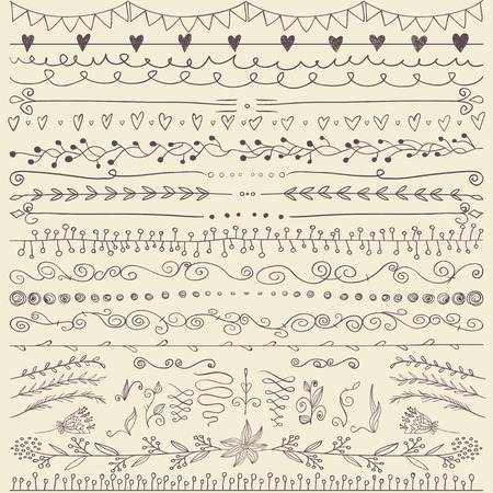 Set of hand drawn lines border and elegant design elements. Illustration vector. Can be use as decoration. Pastel backdrop. Illustration vector. Ilustração
