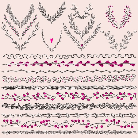 Set of hand drawn floral graphic design elements  and lines border. Illustration vector. Hand Drawn graphic elements.design elements in retro style. Retro colors. Illustration vector. Vector