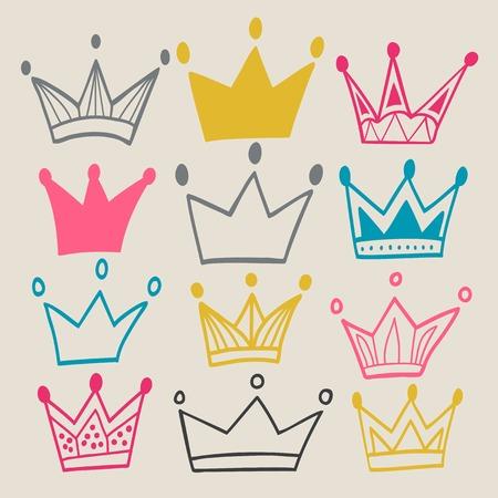 corona real: Conjunto de coronas lindos de la historieta. Tel�n de fondo en colores pastel. Colores brillantes. Se utiliza para su dise�o. Vectores