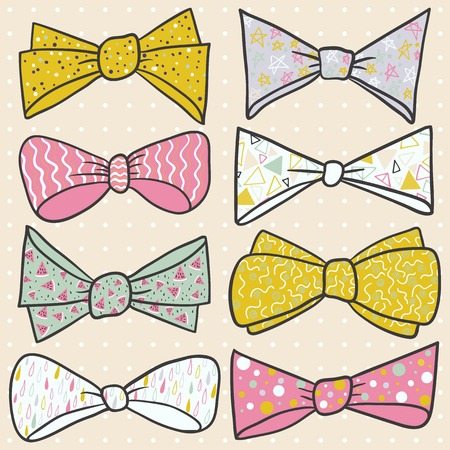 Set of hand drawn bow with cute ornaments. illustration set of colorful bow tie in different colors. Pastel background with dots. Vector illustration. Vector