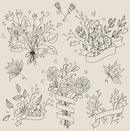 compliments: Set of hand drawn cute floral bouquets. Retro flowers labels in vector. Set of hand drawn cute floral bouquets. Retro flowers labels in vector. Beautiful invitation bouquets  in pastel colors.  Illustration vector.