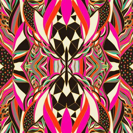 伝統的な装飾のペイズリー バンダナ。功妙なパターンと手描きの背景。鮮やかな色。壁紙、塗りつぶし、背景にシームレスなパターンを使用するこ  イラスト・ベクター素材