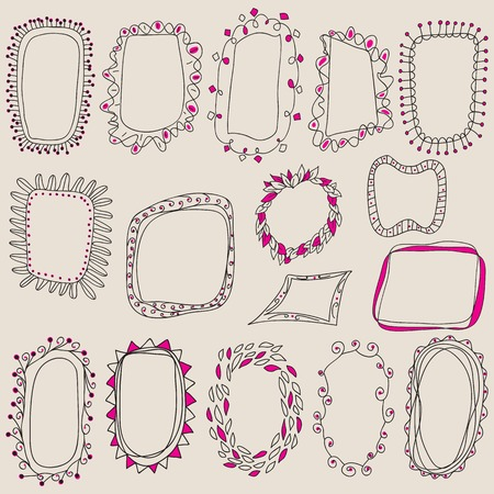 Sketch of frames, hand drawing for your design. Sketch of frames, hand drawing for your design. Vector illustration.  Design elements on pastel background Ilustração
