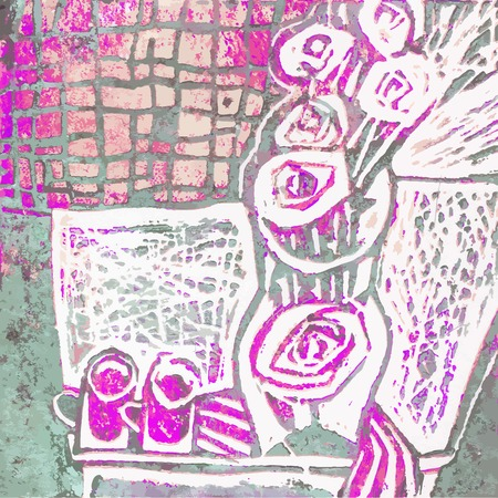 stilllife: Abstract still-life with vase, bunch of roses and two cups. Gray, pink  and white colors. Hand paint still-life. Vector illustration.