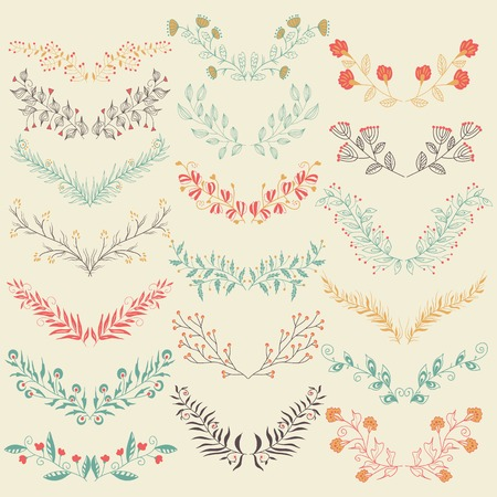 Set of hand drawn symmetrical floral graphic design elements in retro style. Pastel backdrop. Retro colors.  Illustration vector. Flowers labels in vector Vector