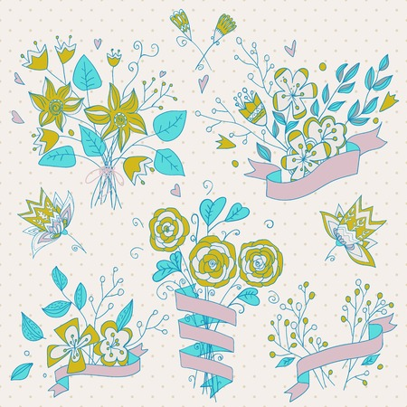 Hand drawn flower bouquet set. Retro flowers.  Cute floral bouquets. Save the date design collection. Can be used as creating card, invitation card for wedding, birthday and other holiday.