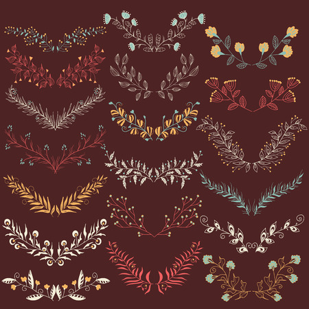 brawn: Set of hand drawn symmetrical floral graphic design elements in retro style.  Set of hand drawn symmetrical floral graphic design elements in retro style. Brawn backdrop. Retro colors.  Illustration vector.