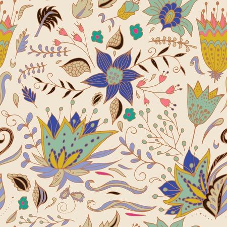 elegância: Abstract Elegance padrão floral sem emenda em um fundo pastel. Textura bonita flor. Ilustração do vetor. Padrões sem costura são utilizados em têxteis design, cartões postais, sites, wallpapers. Ilustração