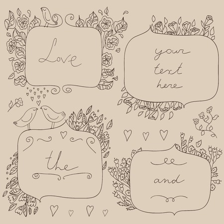 Vector romantic set of floral frames, with couple of birds and hearts.  Sketch frames, hand-drawn in vintage style. Vector illustration. Vector
