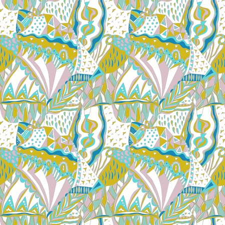 native american baby: Traditional ornamental pattern. Hand drawn colorful aztec pattern with artistic elements. Pastel colors. Seamless pattern can be used for wallpaper, pattern fills, surface textures.