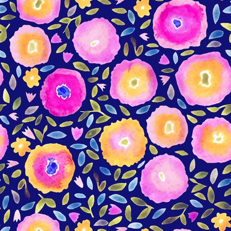 Hand paint watercolor floral seamless pattern. Flowers and leaves. Can be used for invitations, cards or print. Bright colors and dark background. Vector