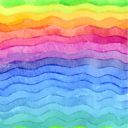 Wavy hand drawn watercolor background.  Brigth colors. Watercolor composition for scrapbook elements or print. Ilustração