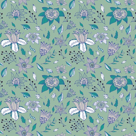 backgrouns: Elegant seamless pattern with abstract flowerson a gree backgrouns. Used for your design wallpapers, pattern fills, web page backgrounds, surface textures