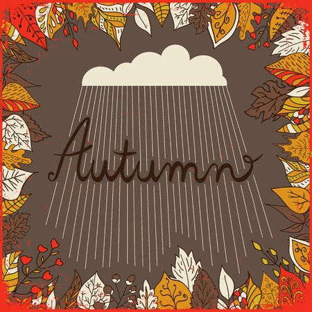 brawn: Autumn floral background with leaves, text autumn and cloud with rain. Bright floral background in vintage style. Brawn backdrop. Use for wedding invitations and birthday cards Illustration