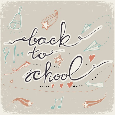 Back to School Doodles with bell, stars,hearts and arrows. Design Elements. Back to School doodles. Pastel backdrop. Vector
