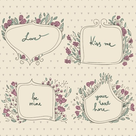 romantic set of floral frames in a pastel colors and backdrop with hearts. Sketch frames, hand-drawn in vintage style.  Vector