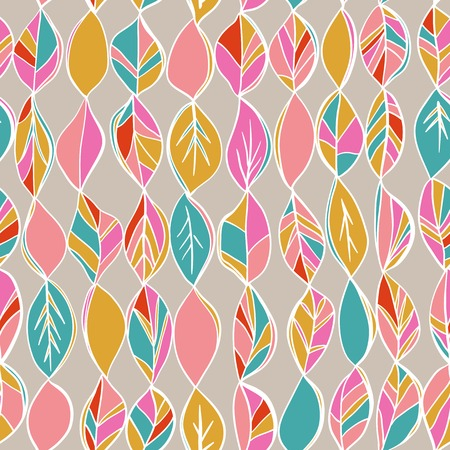 Seamless pattern with colored autumn leaves on a pastel background. Bright color. Autumn endless background, Used for wallpaper, pattern fills, surface textures.