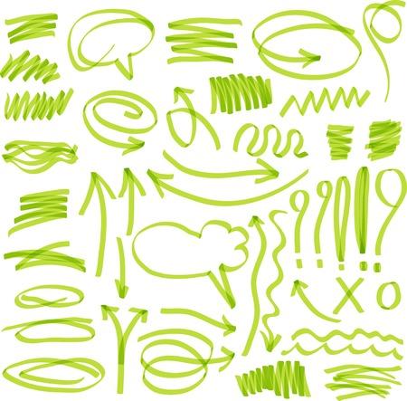 highlighter elements. Set of marker design elements in a green colors. Stock Illustratie