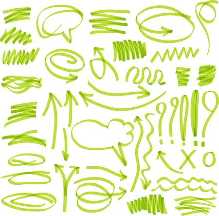 highlighter elements. Set of marker design elements in a green colors. Ilustração